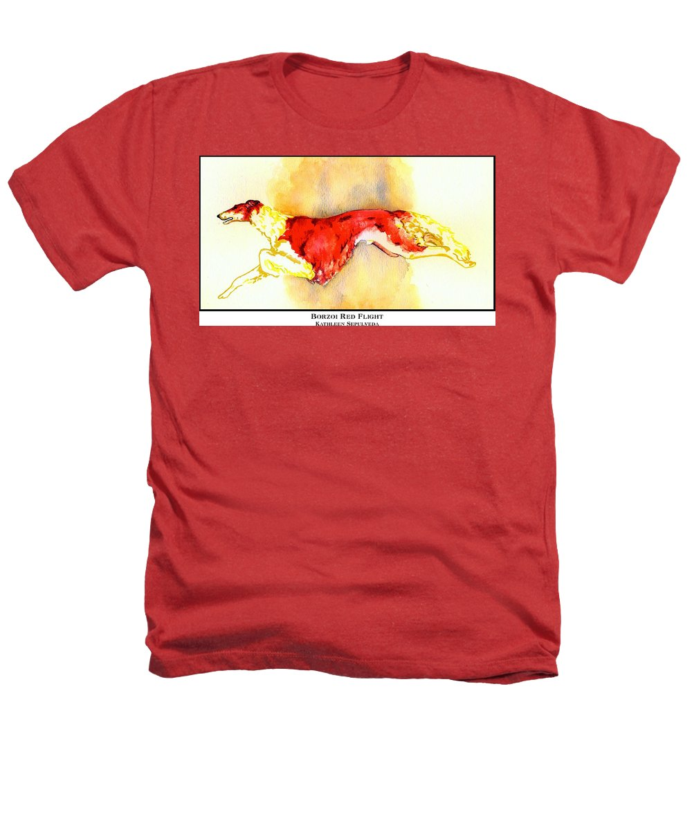 Borzoi Heathers T-Shirt featuring the digital art Borzoi Red Flight by Kathleen Sepulveda