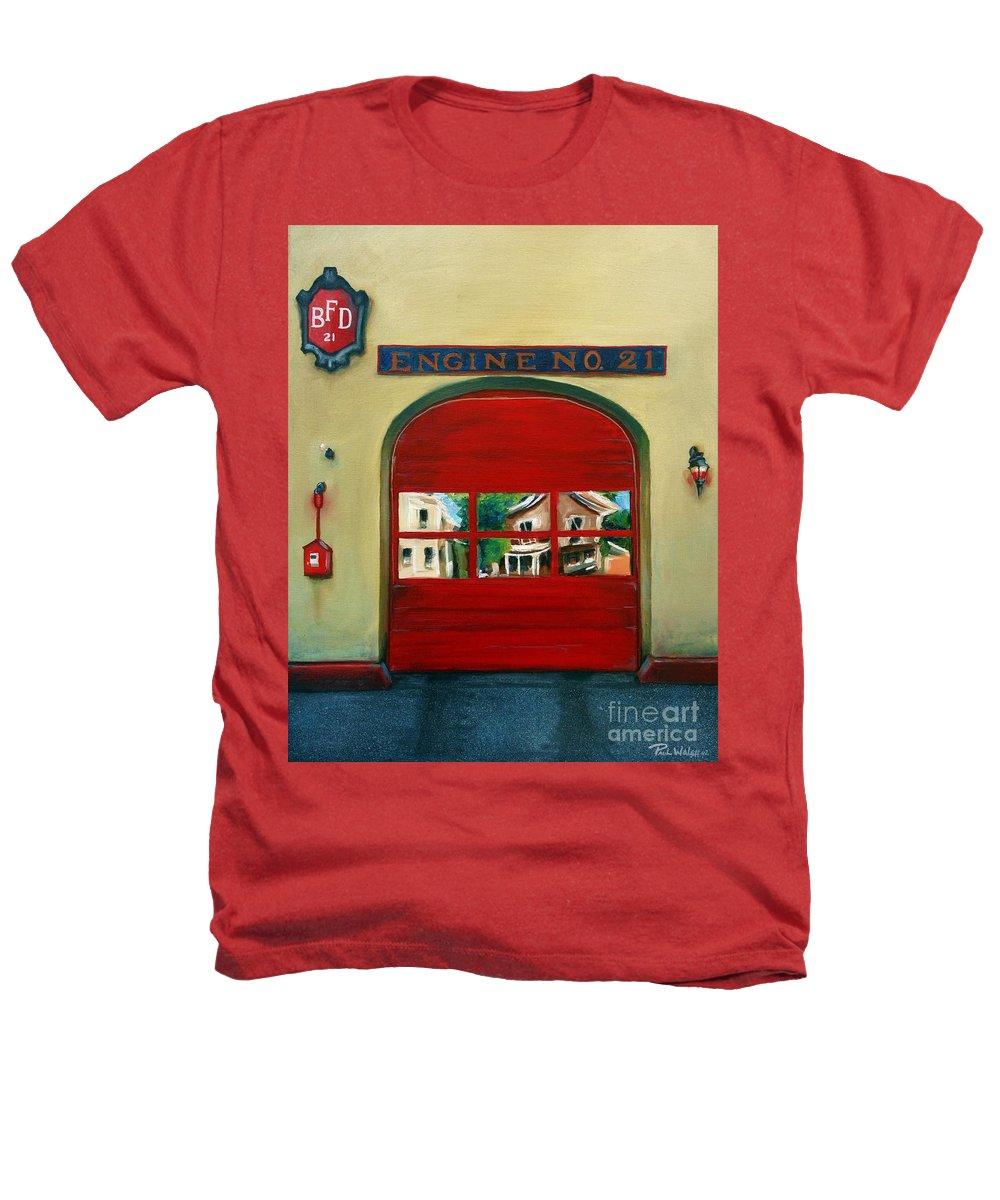 Fire House Heathers T-Shirt featuring the painting Boston Fire Engine 21 by Paul Walsh
