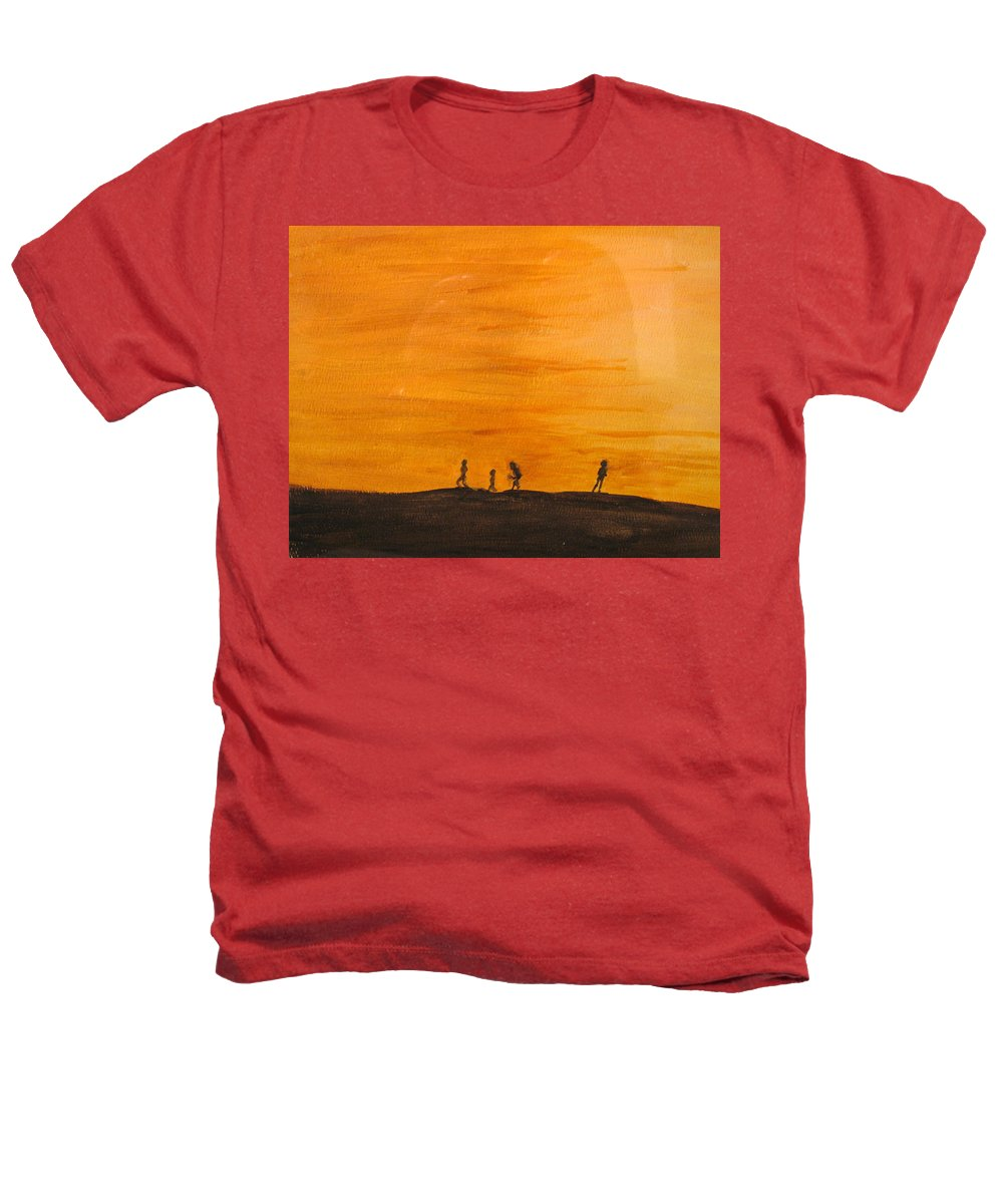 Boys Heathers T-Shirt featuring the painting Boys At Sunset by Ian MacDonald