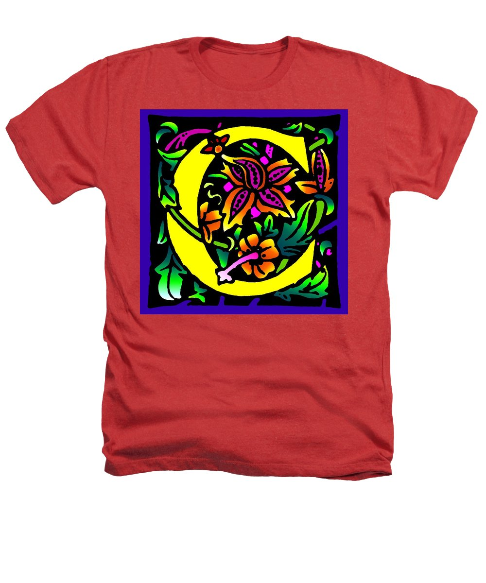 Alphabet Heathers T-Shirt featuring the digital art C In Yellow by Kathleen Sepulveda