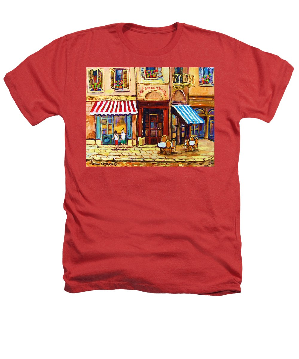 Old Montreal Outdoor Cafe City Scenes Heathers T-Shirt featuring the painting Cafe De Vieux Montreal With Couple by Carole Spandau