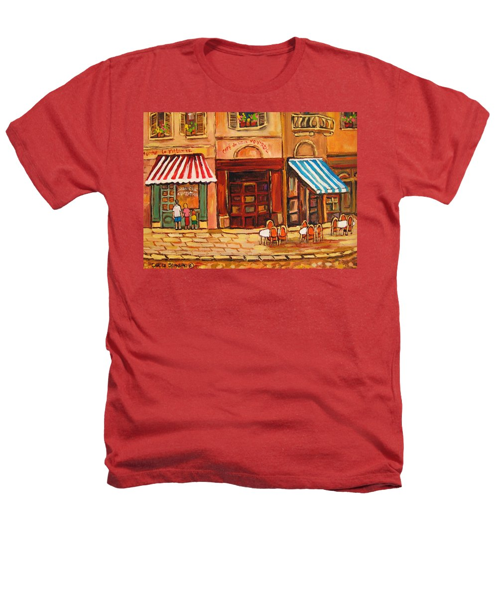 Cafe Vieux Montreal Street Scenes Heathers T-Shirt featuring the painting Cafe Vieux Montreal by Carole Spandau