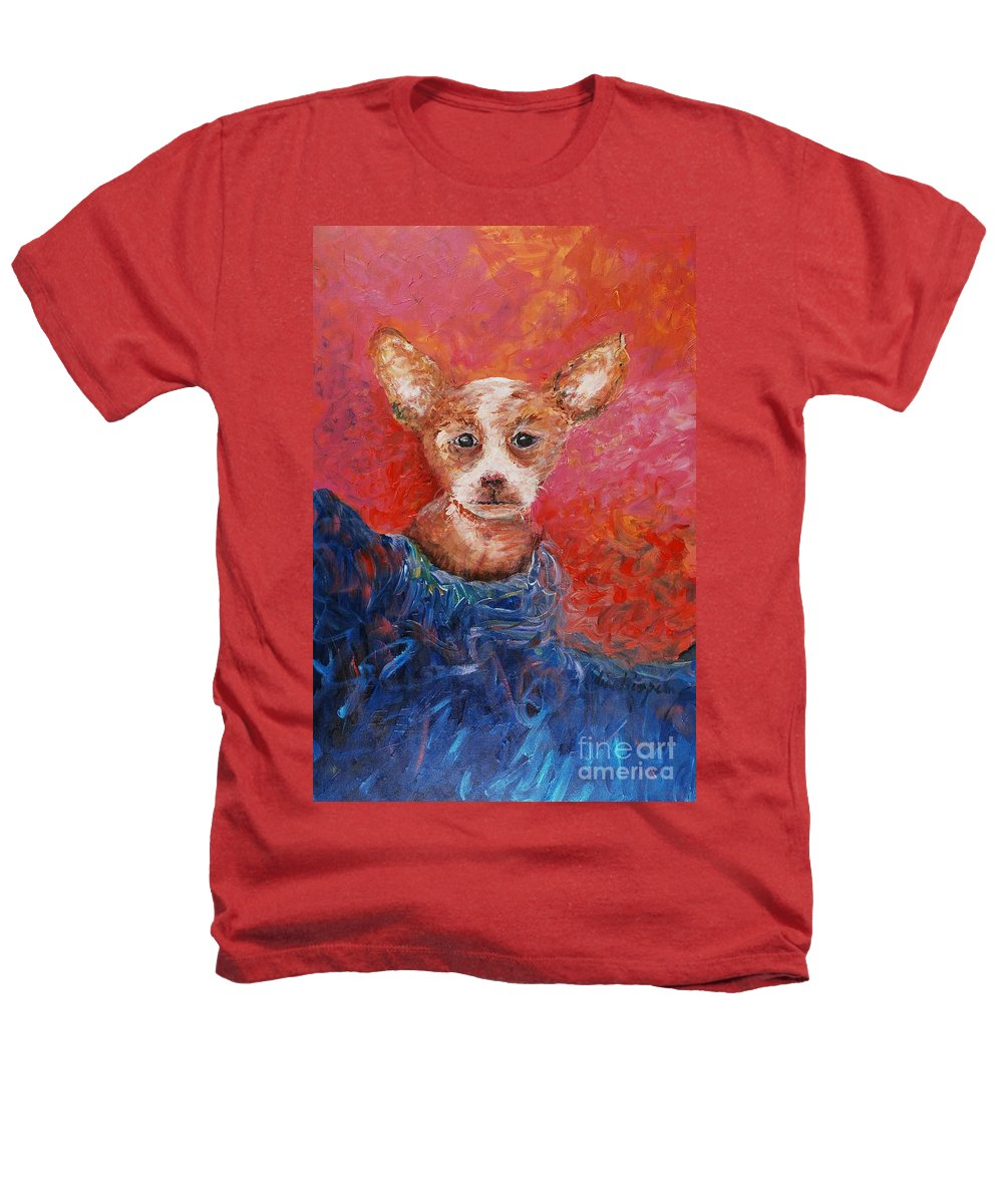 Dog Heathers T-Shirt featuring the painting Chihuahua Blues by Nadine Rippelmeyer