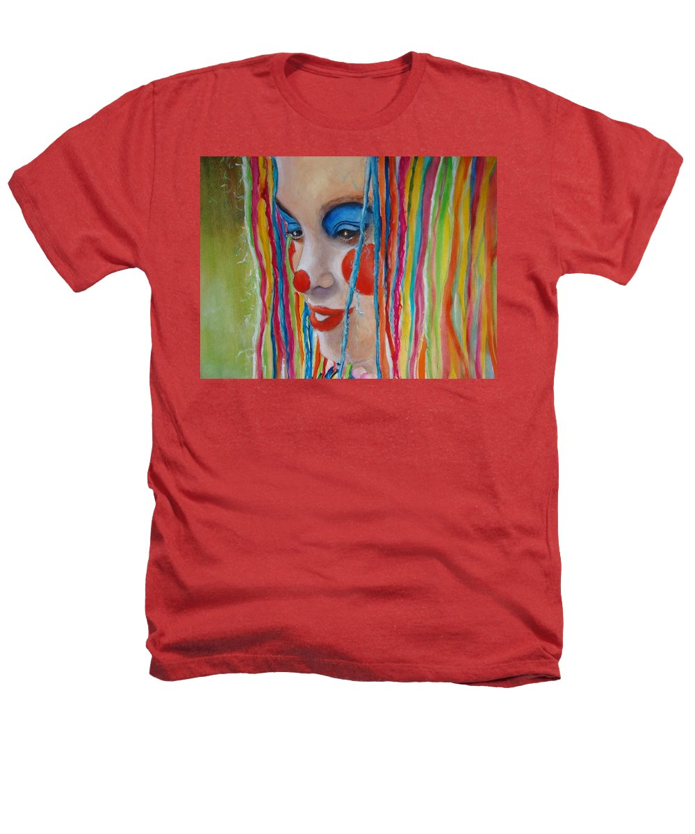 Clowns Heathers T-Shirt featuring the painting Complementary by Myra Evans
