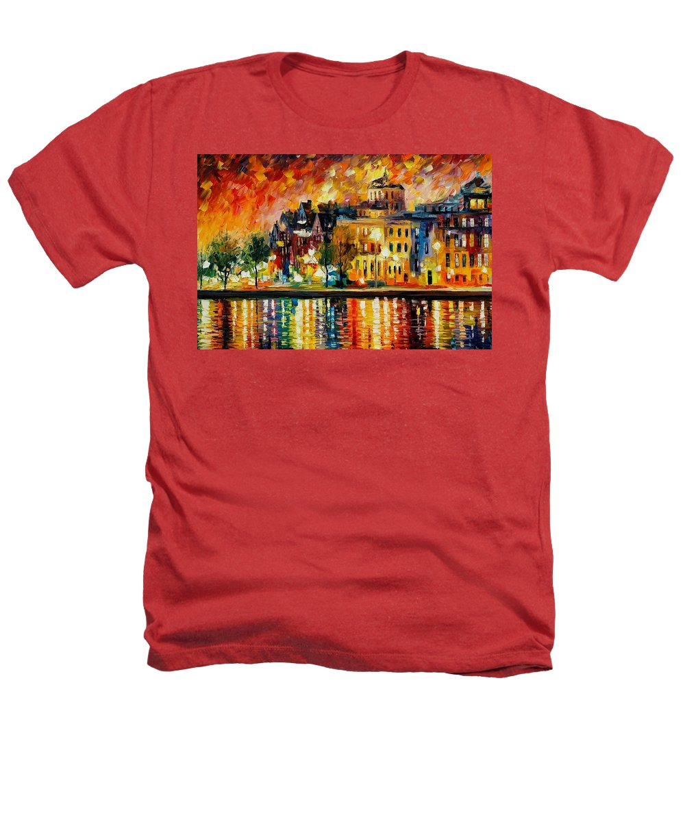 City Heathers T-Shirt featuring the painting Copenhagen Original Oil Painting by Leonid Afremov