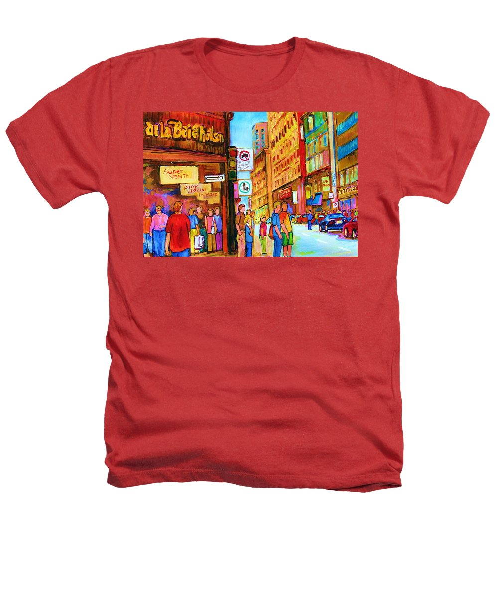 Cityscape Heathers T-Shirt featuring the painting Downtown by Carole Spandau
