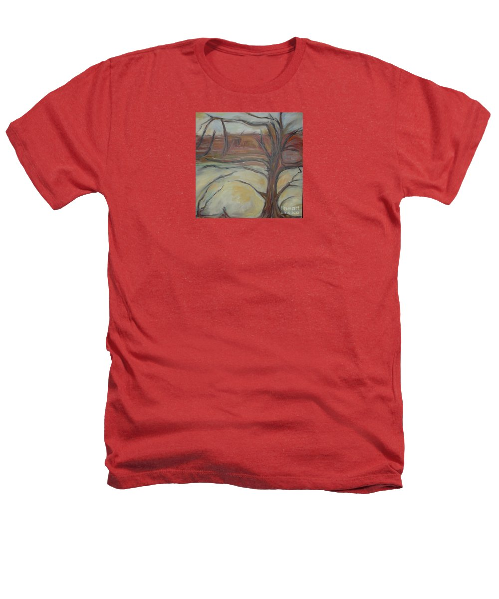 Woods Tree Abstract Original Painting Winter Heathers T-Shirt featuring the painting Drift by Leila Atkinson