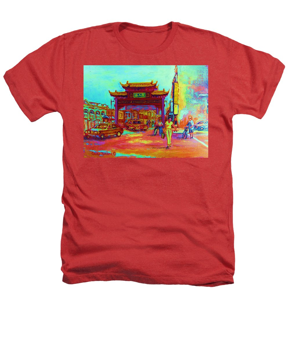 Montreal Heathers T-Shirt featuring the painting Entrance To Chinatown by Carole Spandau