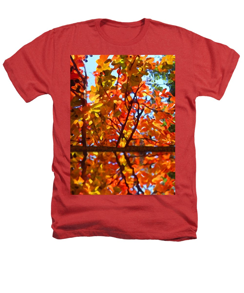 Trees Heathers T-Shirt featuring the painting Fall Reflextion by Amy Vangsgard