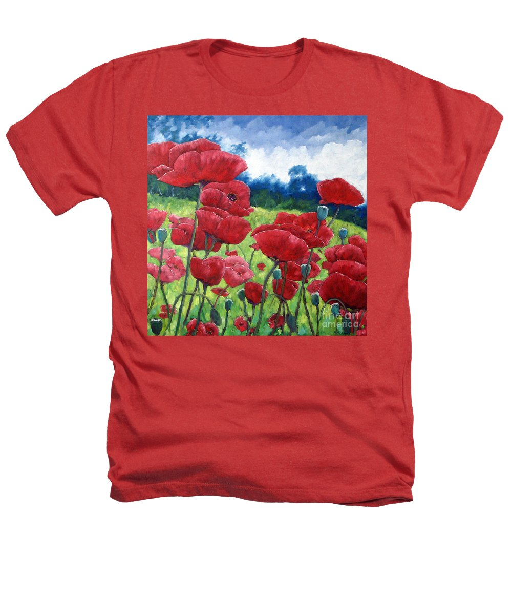Poppies Heathers T-Shirt featuring the painting Field Of Poppies by Richard T Pranke