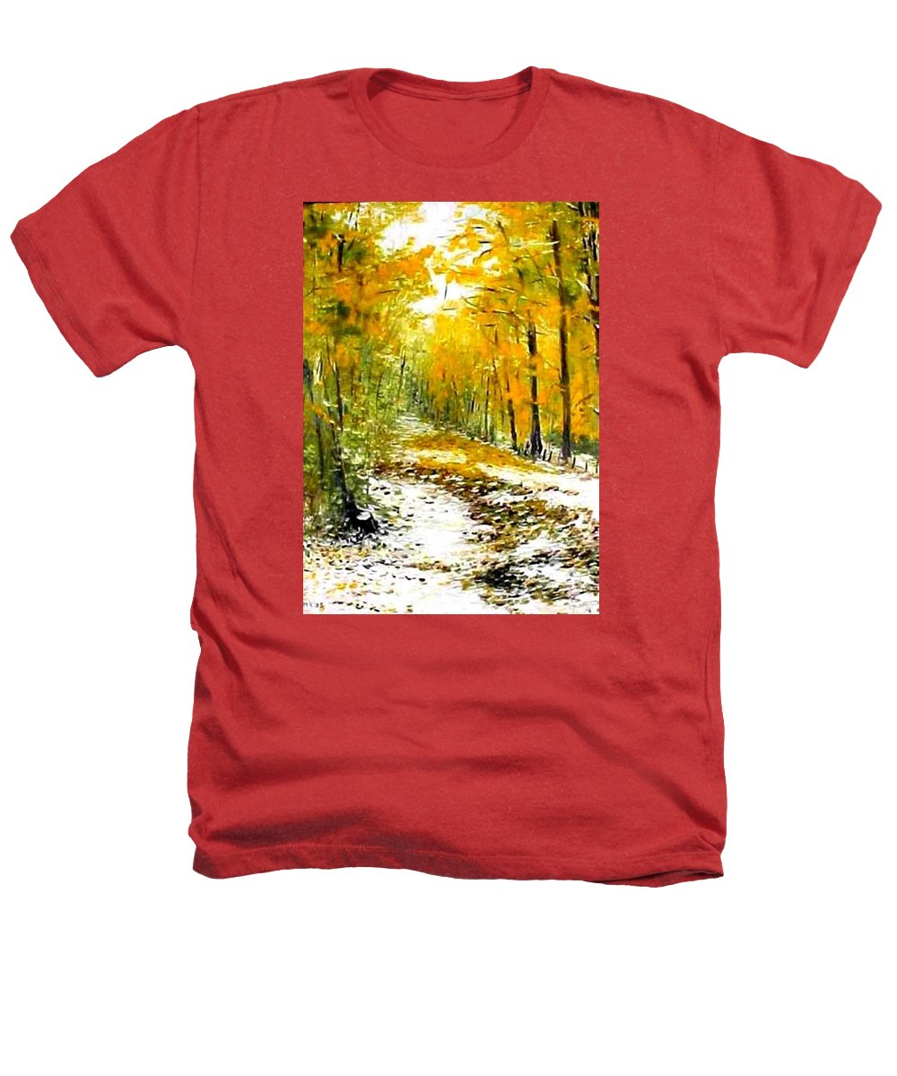 Landscape Heathers T-Shirt featuring the painting First Snow by Boris Garibyan