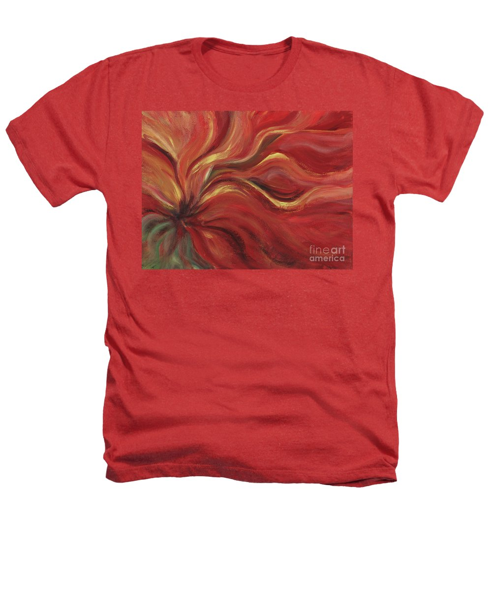 Red Heathers T-Shirt featuring the painting Flaming Flower by Nadine Rippelmeyer