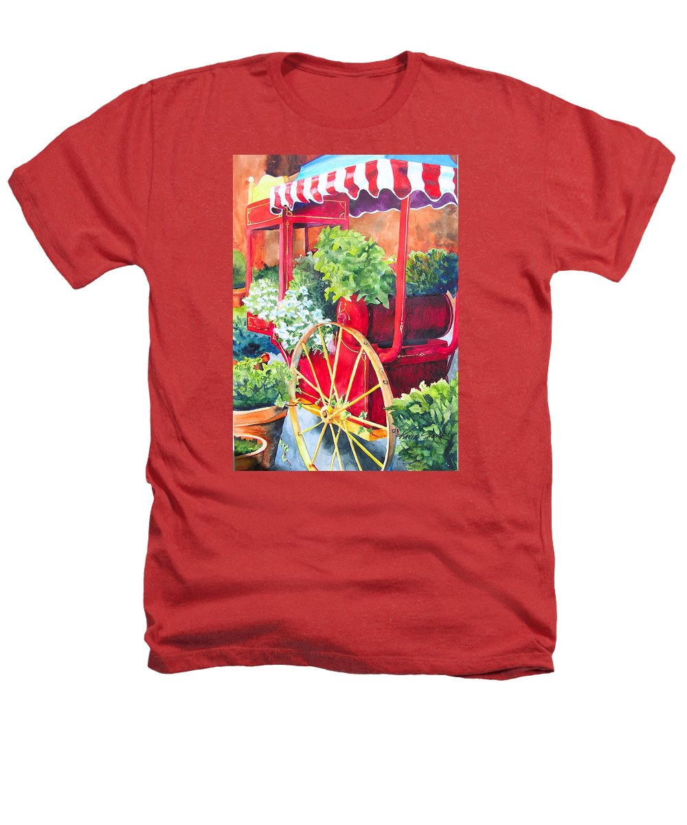 Floral Heathers T-Shirt featuring the painting Flower Wagon by Karen Stark