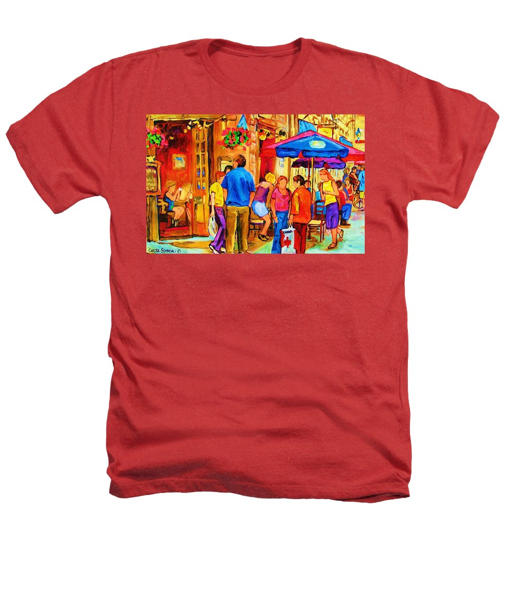 Montreal Cafe Scenes Heathers T-Shirt featuring the painting Girl In The Cafe by Carole Spandau