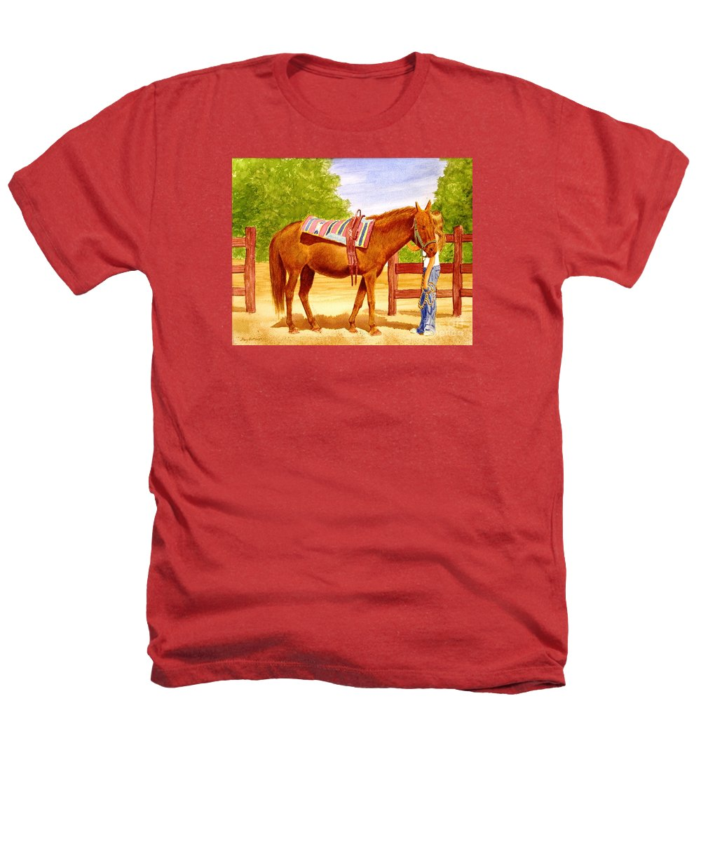 Equine Heathers T-Shirt featuring the painting Girl Talk by Stacy C Bottoms