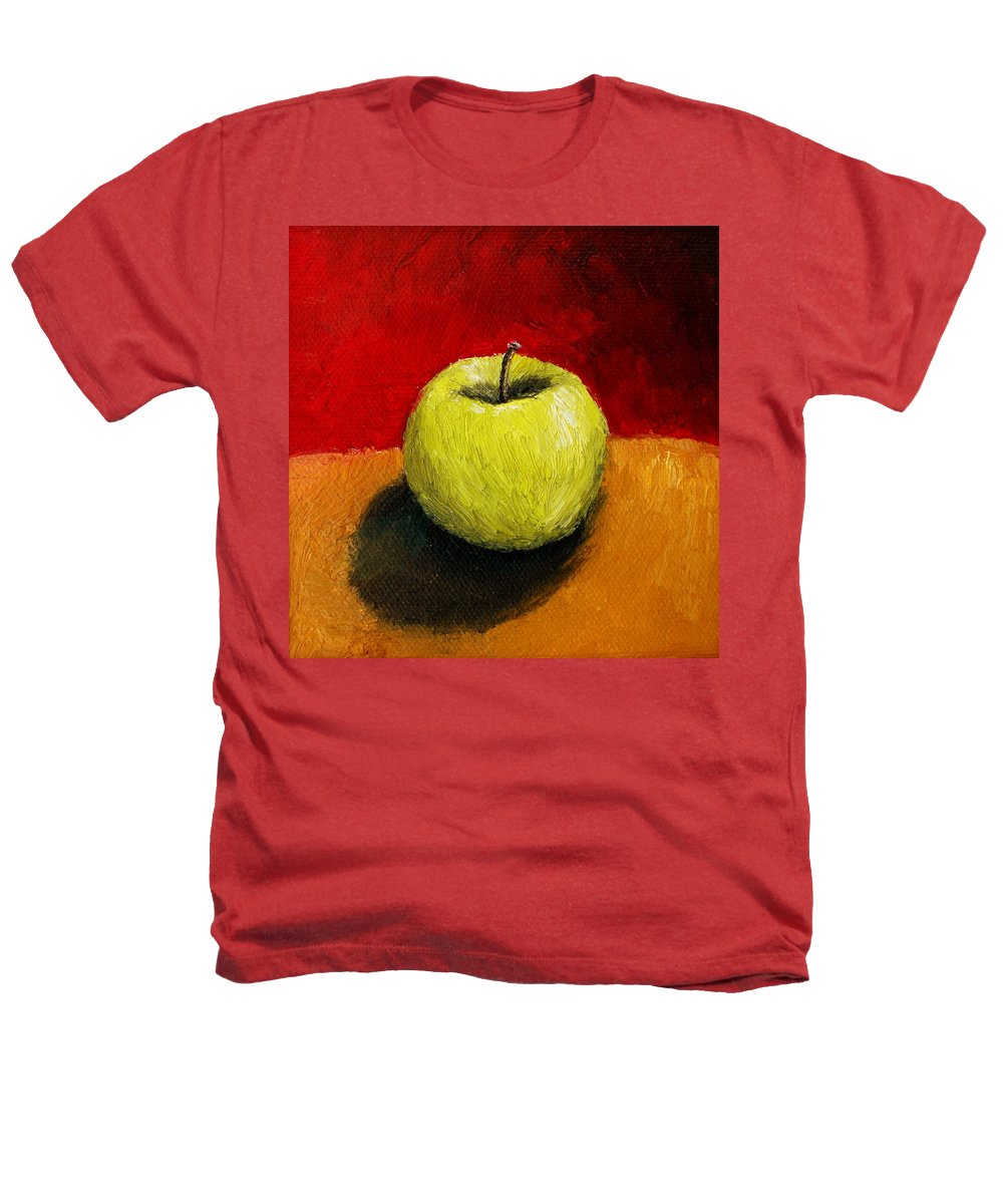 Apple Heathers T-Shirt featuring the painting Green Apple With Red And Gold by Michelle Calkins