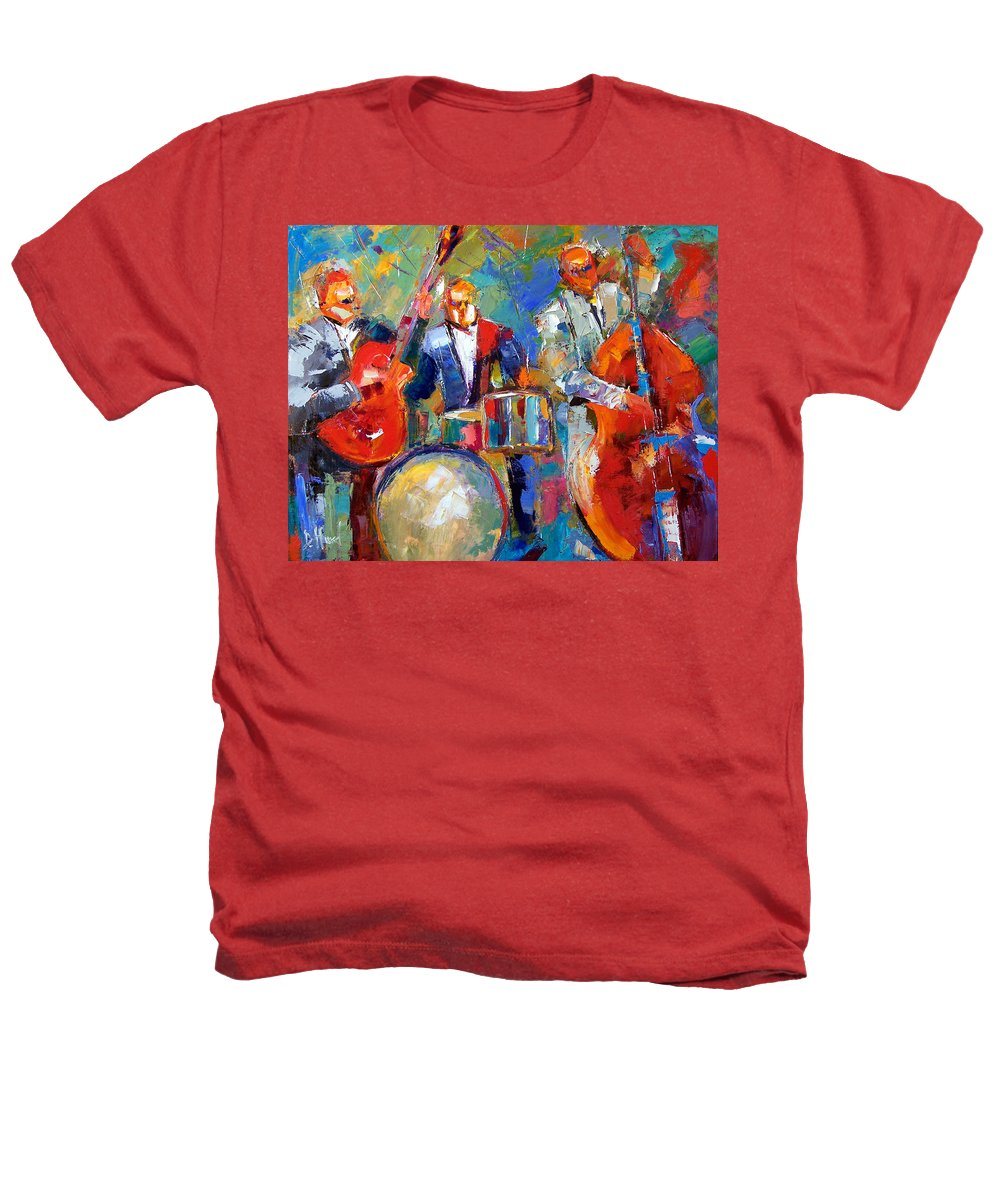 Jazz Painting Heathers T-Shirt featuring the painting Guitar Drums And Bass by Debra Hurd
