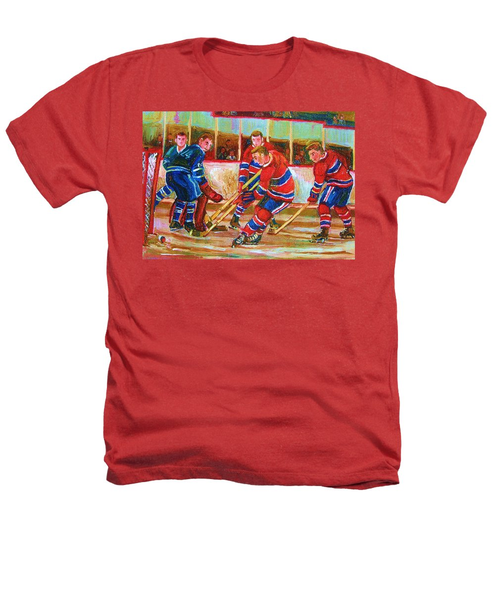 Hockey Heathers T-Shirt featuring the painting He Shoots  He Scores by Carole Spandau