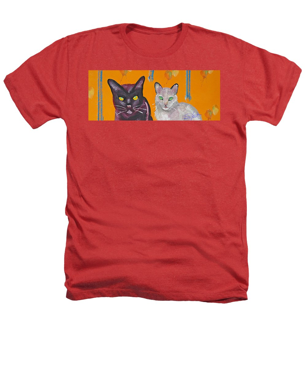Cat Heathers T-Shirt featuring the painting House Cats by Charles Stuart