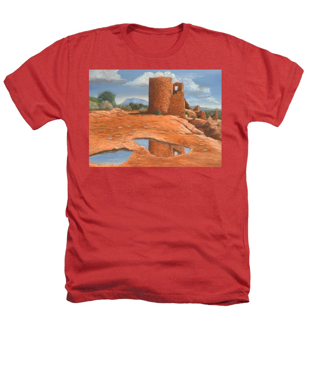 Anasazi Heathers T-Shirt featuring the painting Hovenweep Reflection by Jerry McElroy