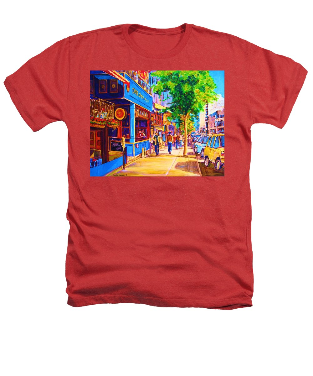 Irish Pub On Crescent Street Montreal Street Scenes Heathers T-Shirt featuring the painting Irish Pub On Crescent Street by Carole Spandau