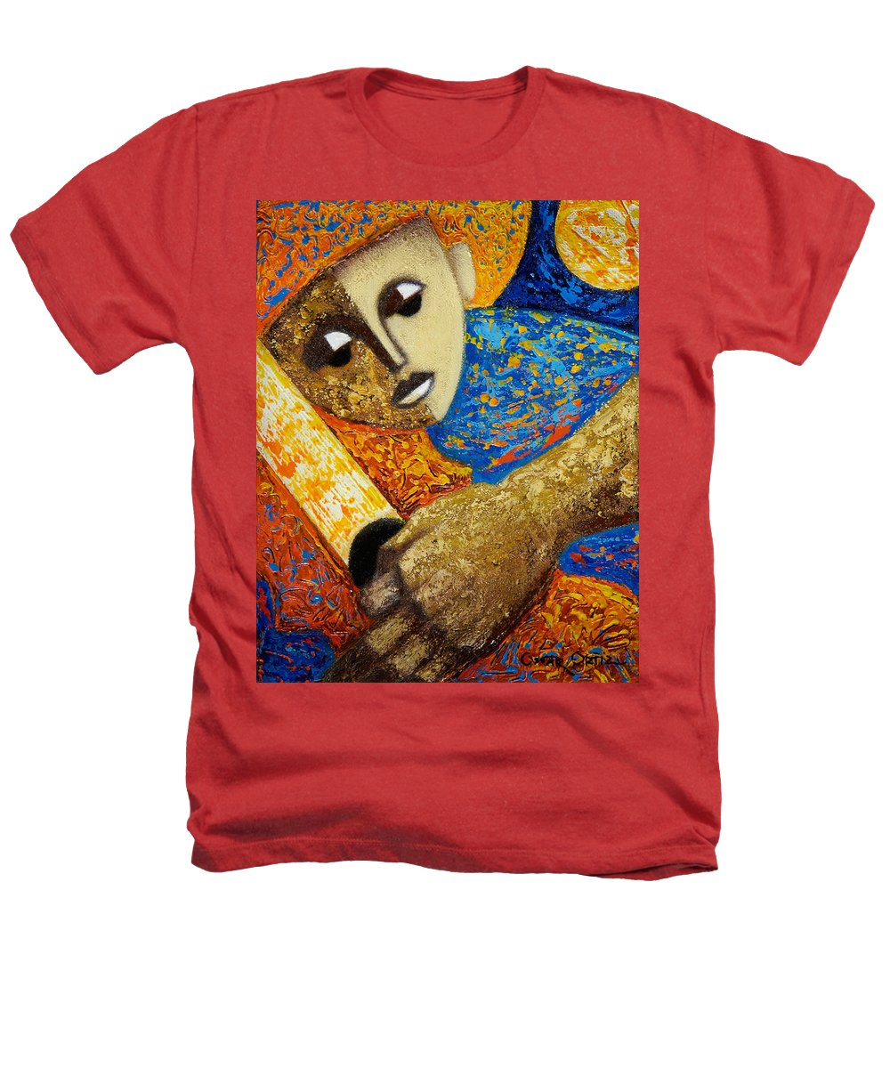 Color Heathers T-Shirt featuring the painting Jibaro Y Sol by Oscar Ortiz