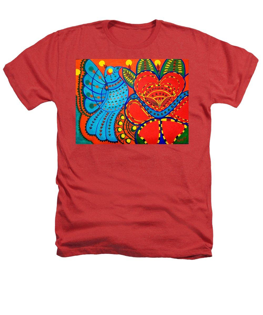 Contemporary Folk Heathers T-Shirt featuring the painting Jinga Bird - Jinga Bird Series by Fareeha Khawaja