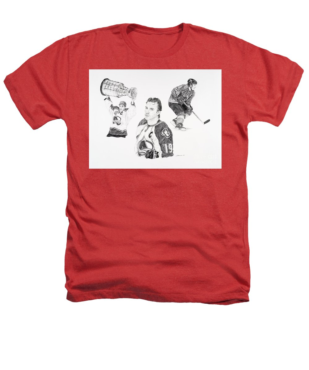 Hockey Heathers T-Shirt featuring the drawing Joe Sakic by Shawn Stallings