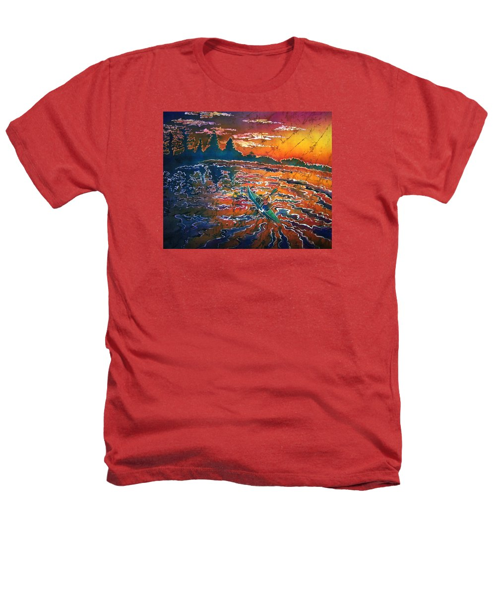Kayak Heathers T-Shirt featuring the painting Kayak Serenity by Sue Duda
