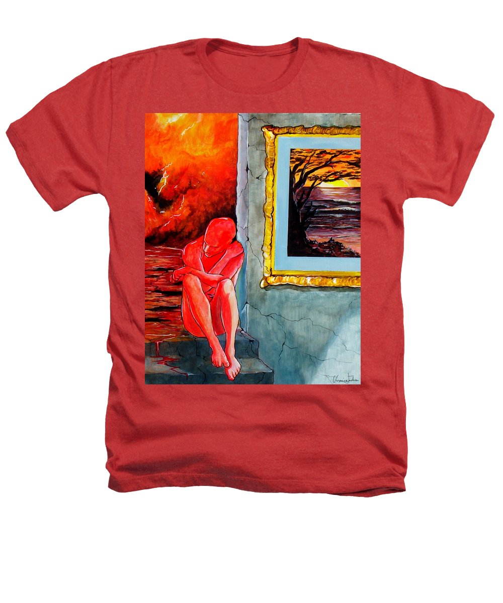 War Sunset Bombs Explosion Wait Loneliness Frustration Heathers T-Shirt featuring the painting Memoirs Of A Bloody Sunset by Veronica Jackson
