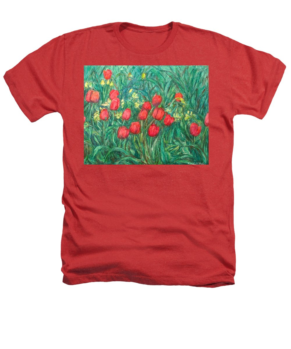 Kendall Kessler Heathers T-Shirt featuring the painting Mostly Tulips by Kendall Kessler