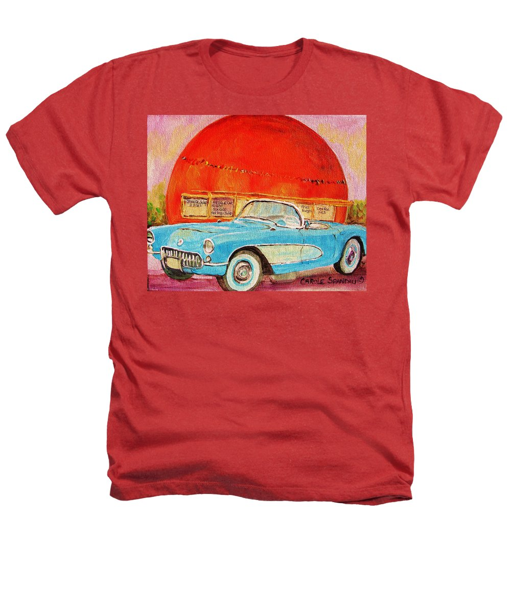 Montreal Heathers T-Shirt featuring the painting My Blue Corvette At The Orange Julep by Carole Spandau