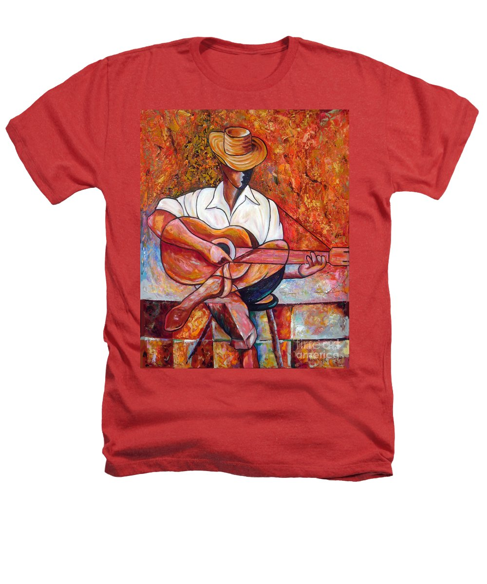 Cuba Art Heathers T-Shirt featuring the painting My Guitar by Jose Manuel Abraham