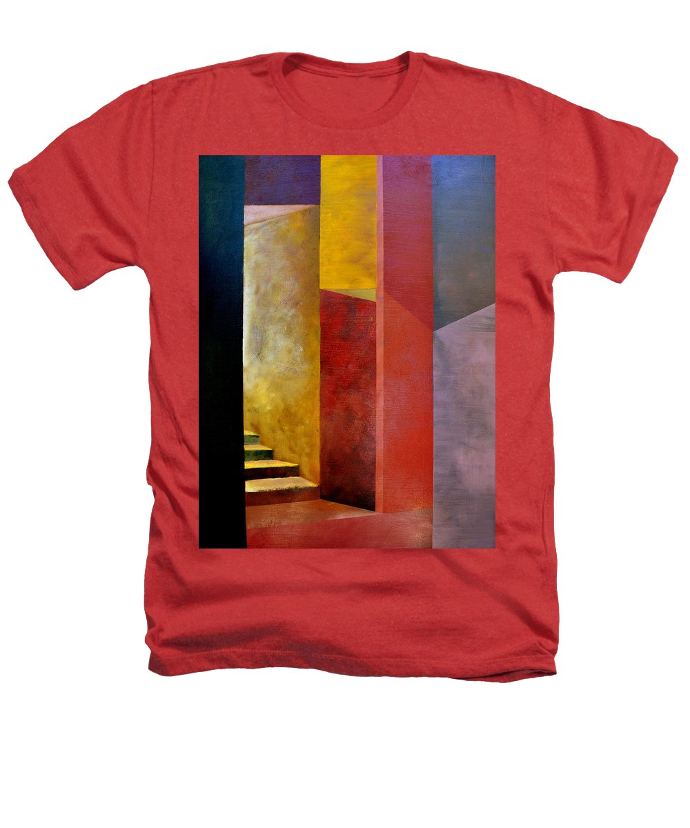 Gold Heathers T-Shirt featuring the painting Mystery Stairway by Michelle Calkins