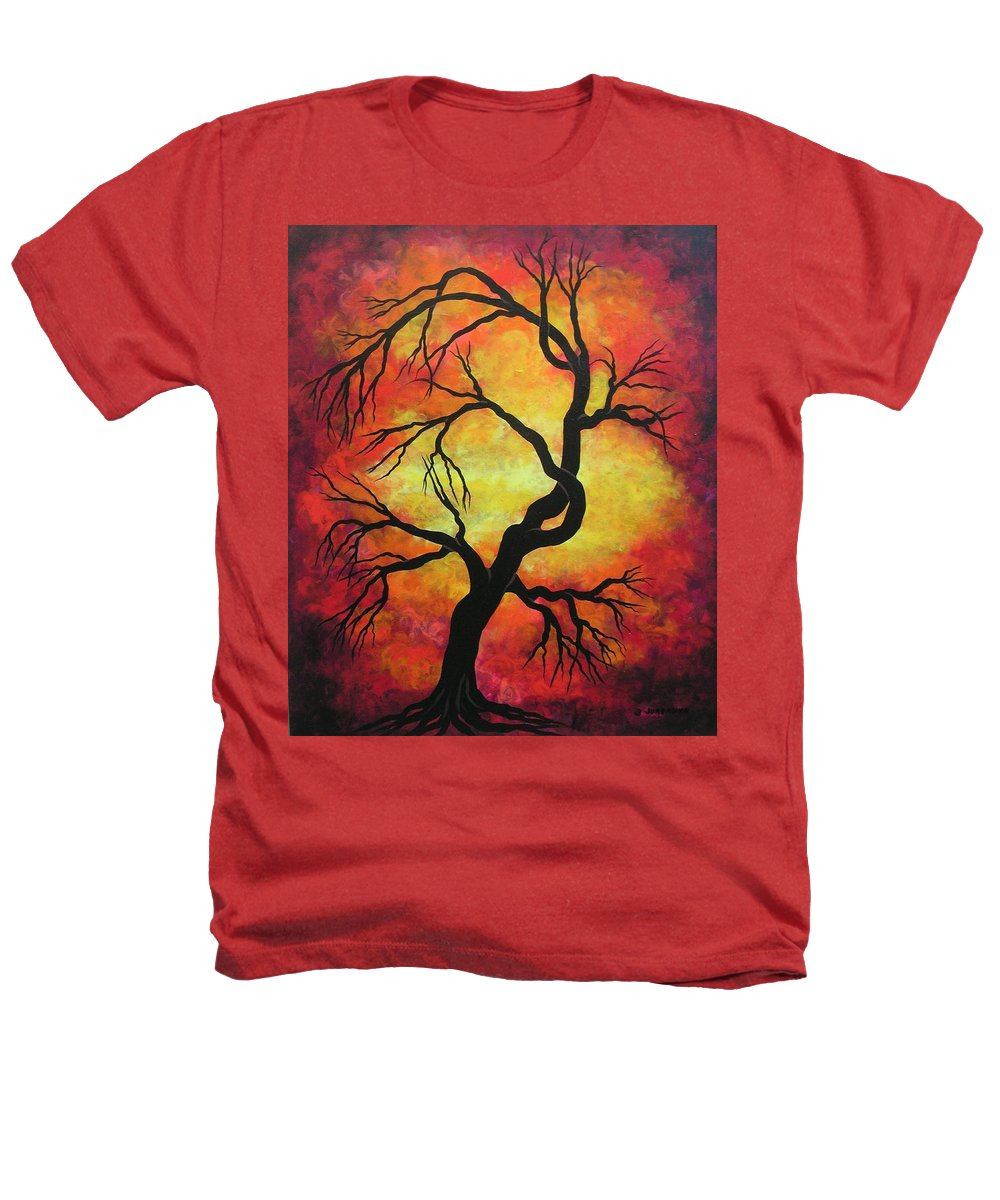 Acrylic Heathers T-Shirt featuring the painting Mystic Firestorm by Jordanka Yaretz