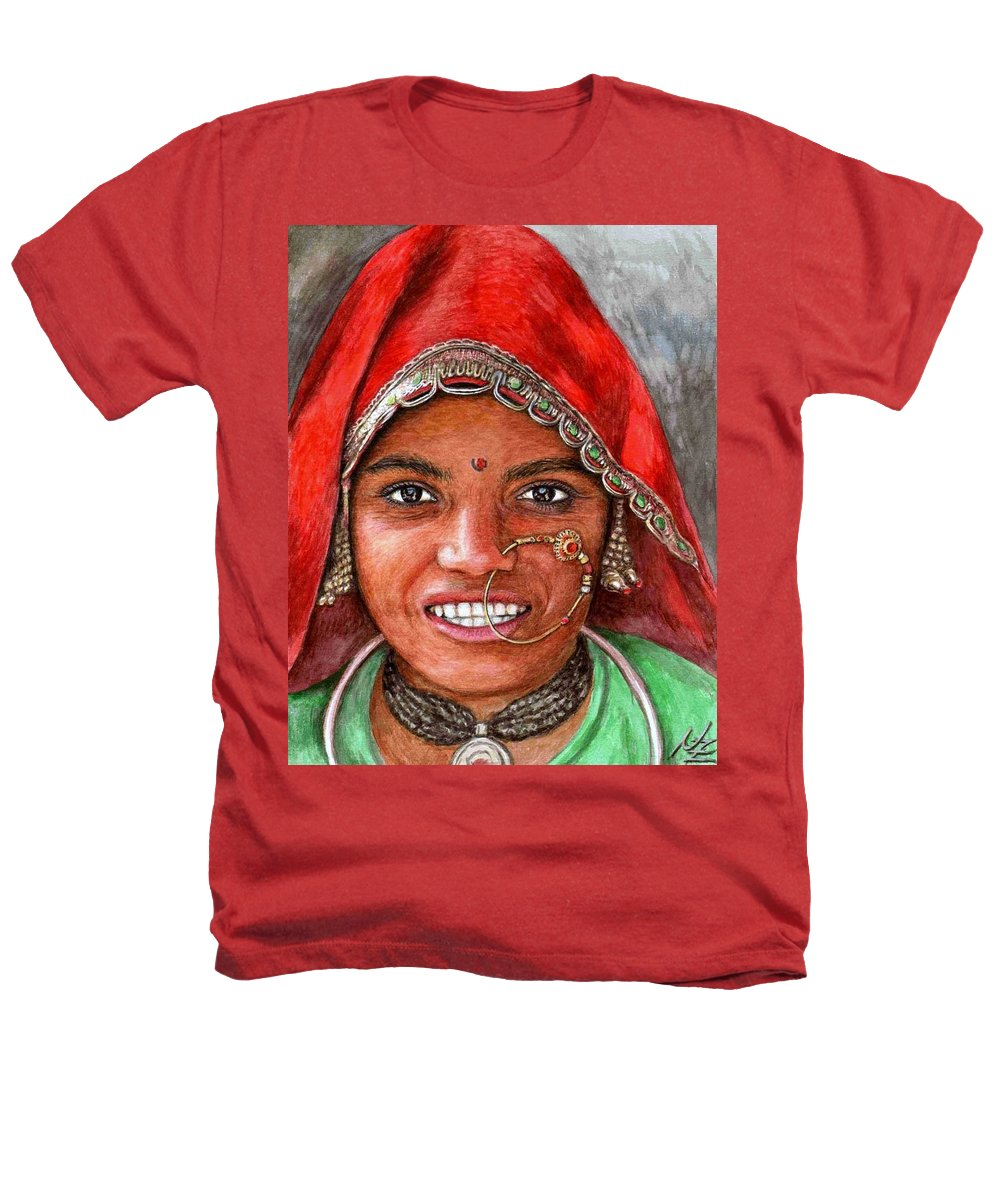 Woma Heathers T-Shirt featuring the painting Northindian Woman by Nicole Zeug