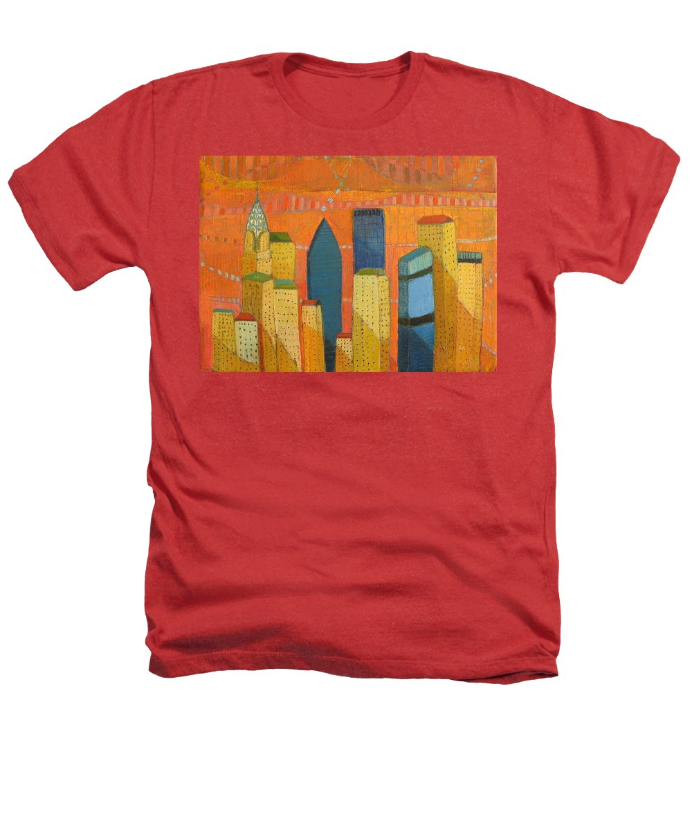Abstract Cityscape Heathers T-Shirt featuring the painting Nyc With Chrysler by Habib Ayat