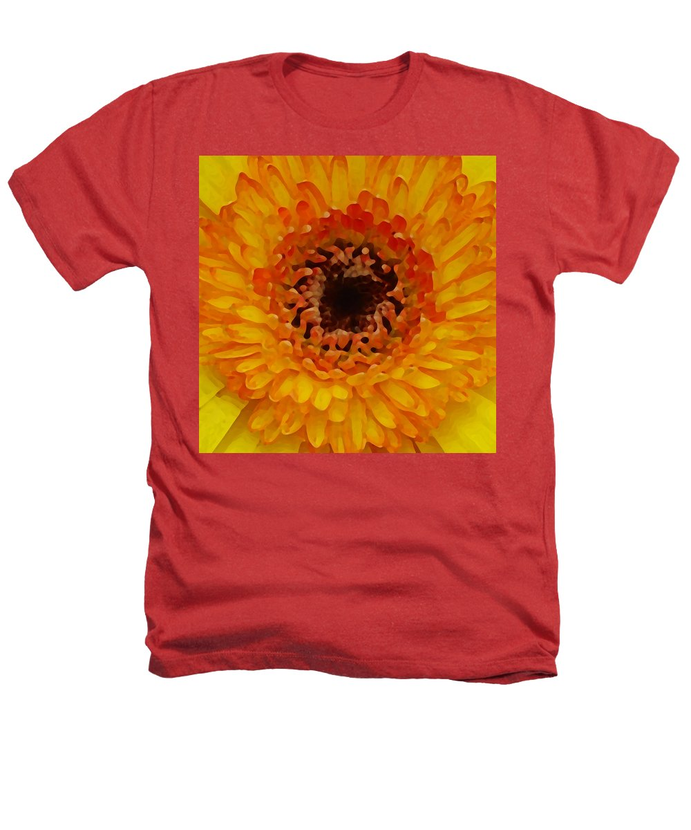 Daisy Heathers T-Shirt featuring the painting Orange And Black Gerber Center by Amy Vangsgard
