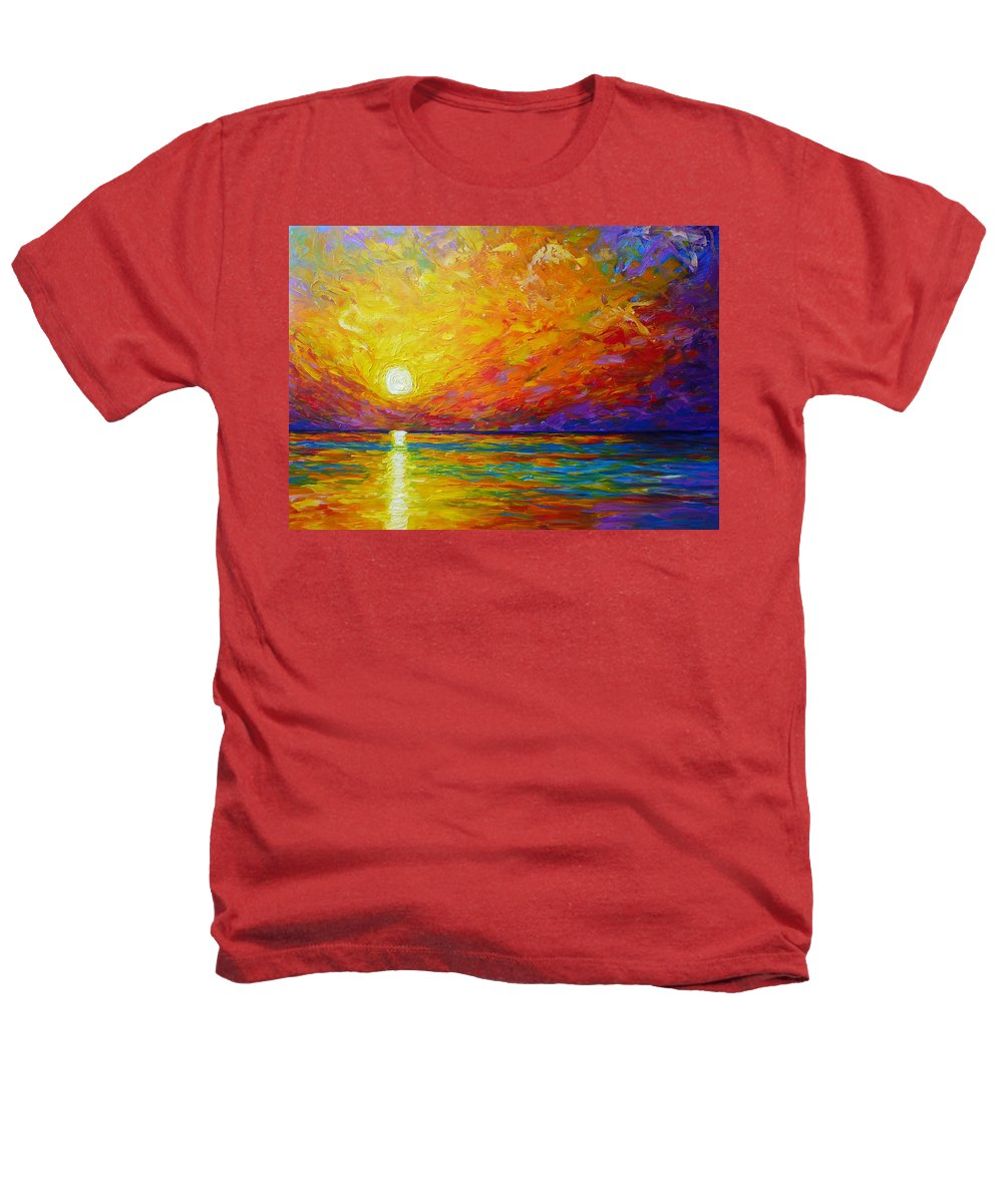 Landscape Heathers T-Shirt featuring the painting Orange Sunset by Ericka Herazo