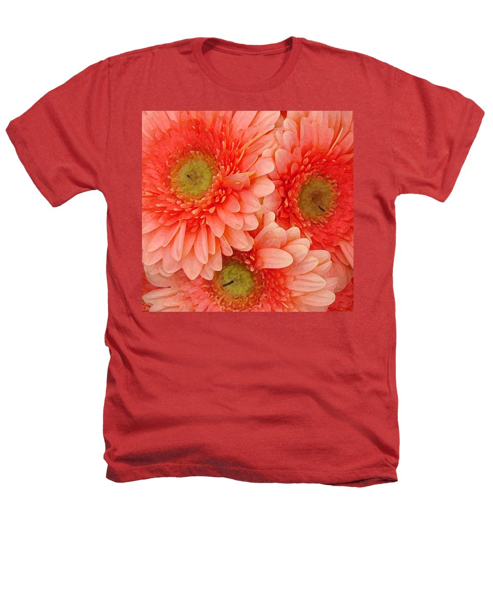 Floral Heathers T-Shirt featuring the painting Peach Gerbers by Amy Vangsgard