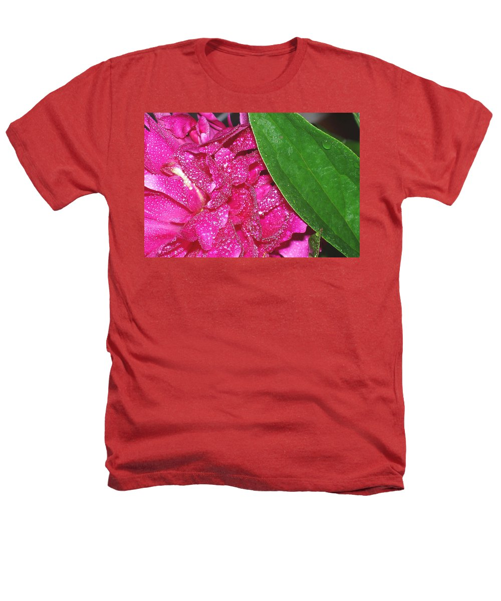 Peony Heathers T-Shirt featuring the photograph Peony And Leaf by Nancy Mueller