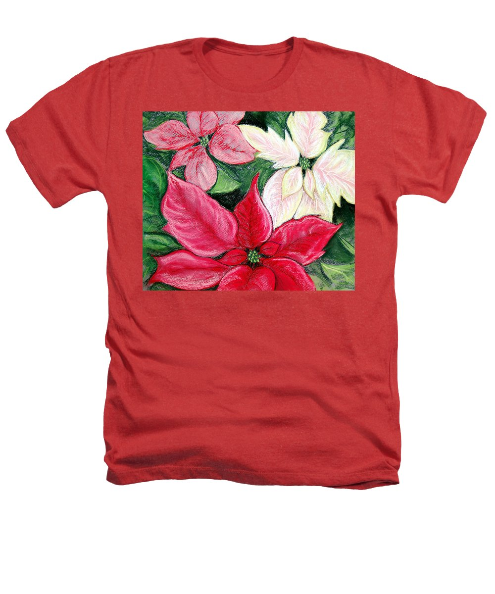 Poinsettia Heathers T-Shirt featuring the pastel Poinsettia Pastel by Nancy Mueller
