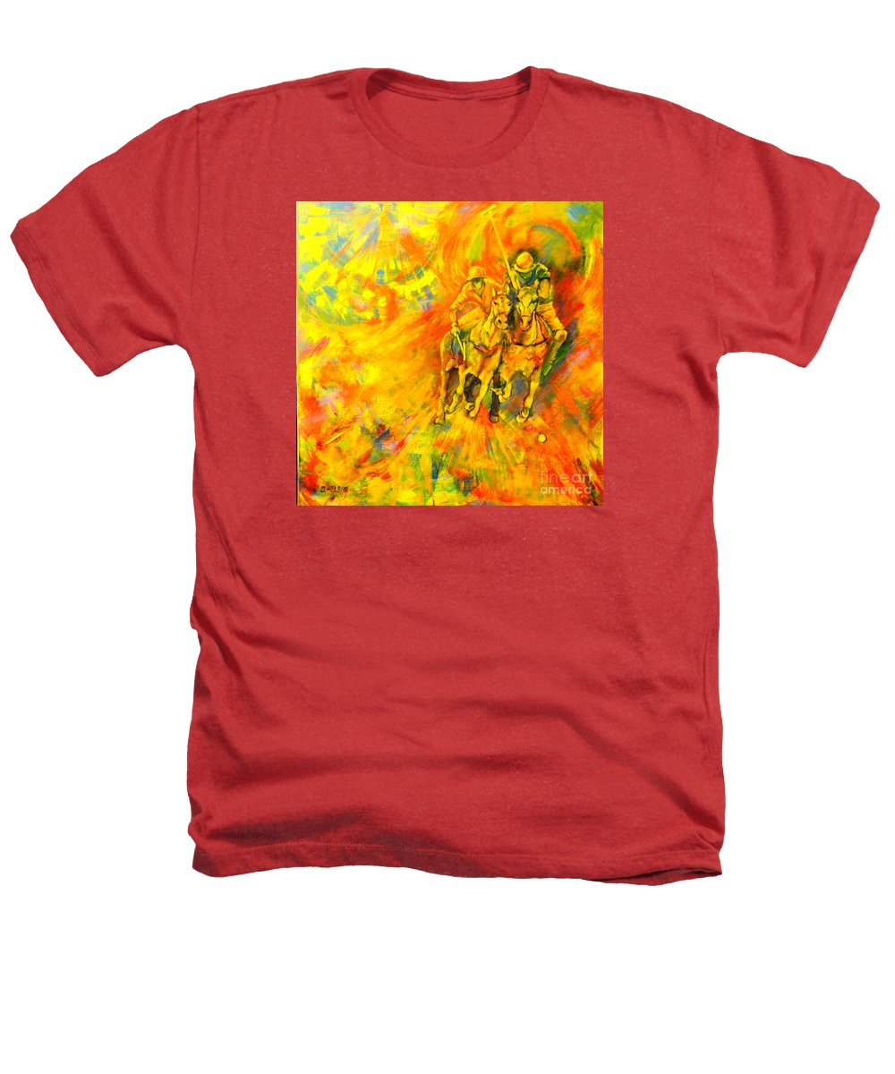 Horses Heathers T-Shirt featuring the painting Poloplayer by Dagmar Helbig