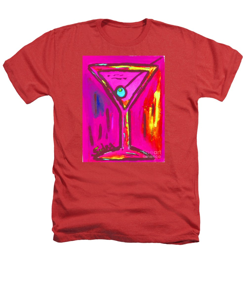 Martini Heathers T-Shirt featuring the painting Pop Art Martini Pink Neon Series 1989 by Sidra Myers