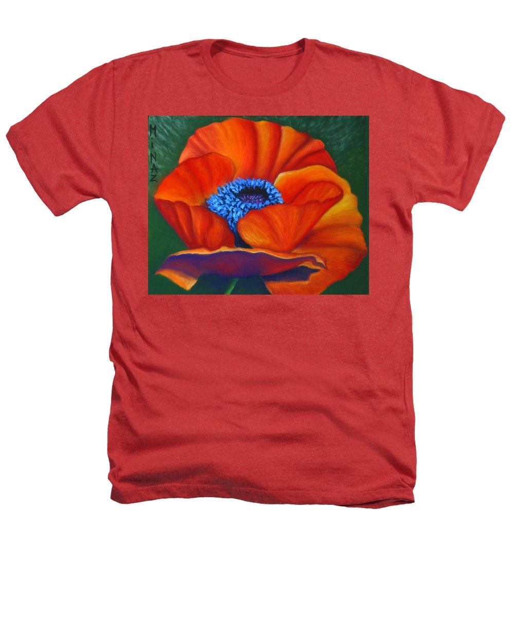 Red Flower Heathers T-Shirt featuring the painting Poppy Pleasure by Minaz Jantz