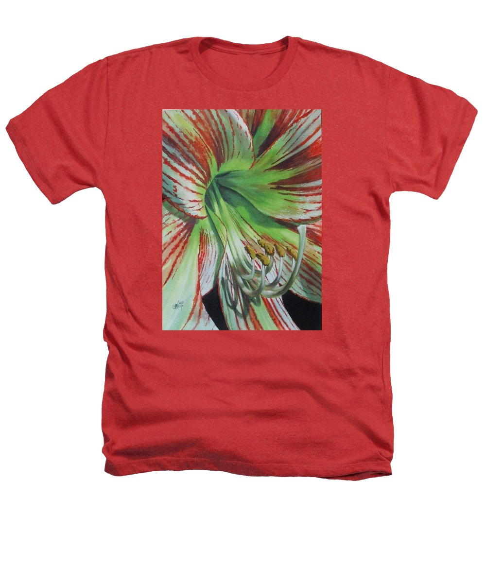 Amaryllis Heathers T-Shirt featuring the painting Precious by Barbara Keith