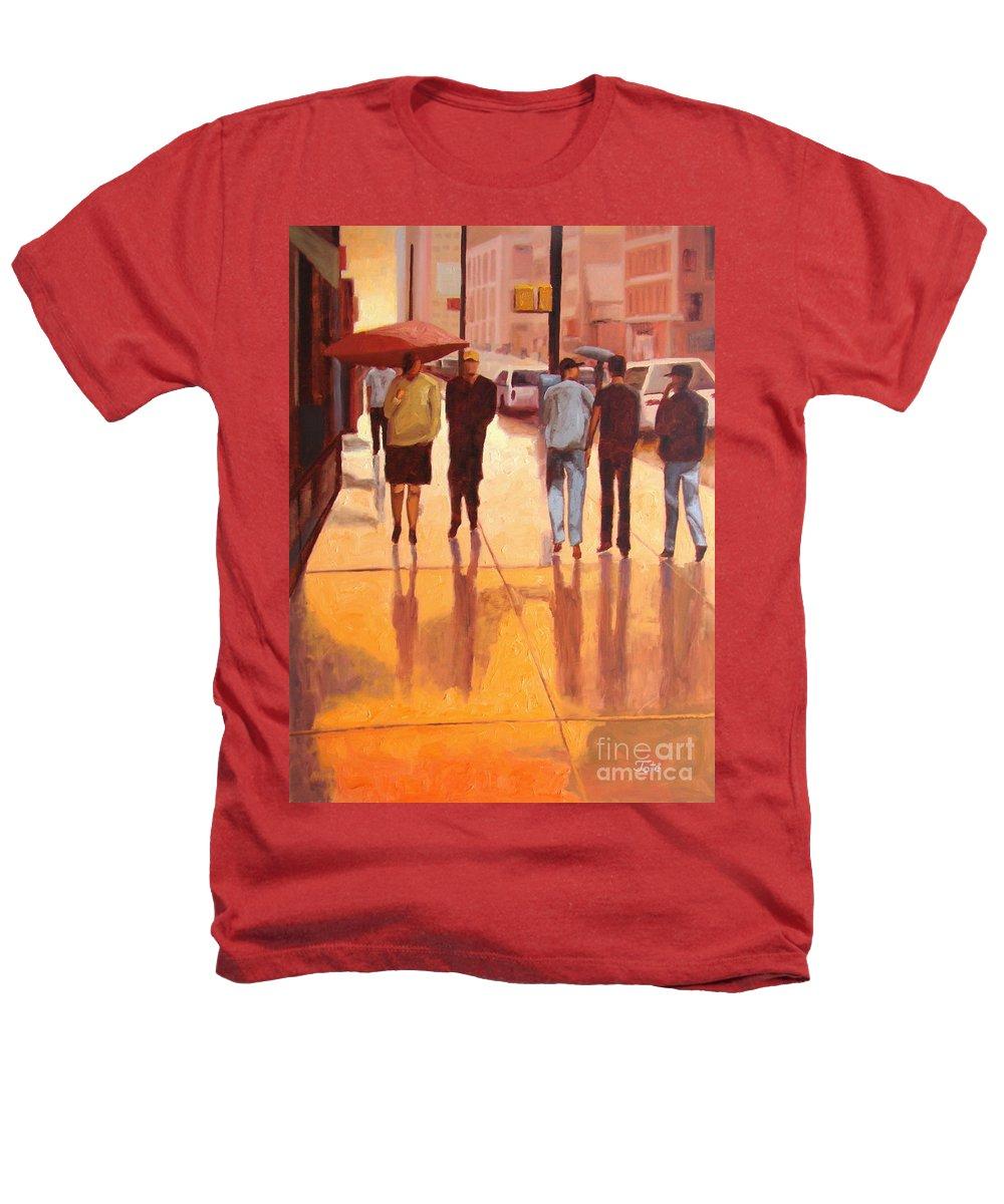 Manhattan Heathers T-Shirt featuring the painting Rain In Manhattan Number Eighteen by Tate Hamilton