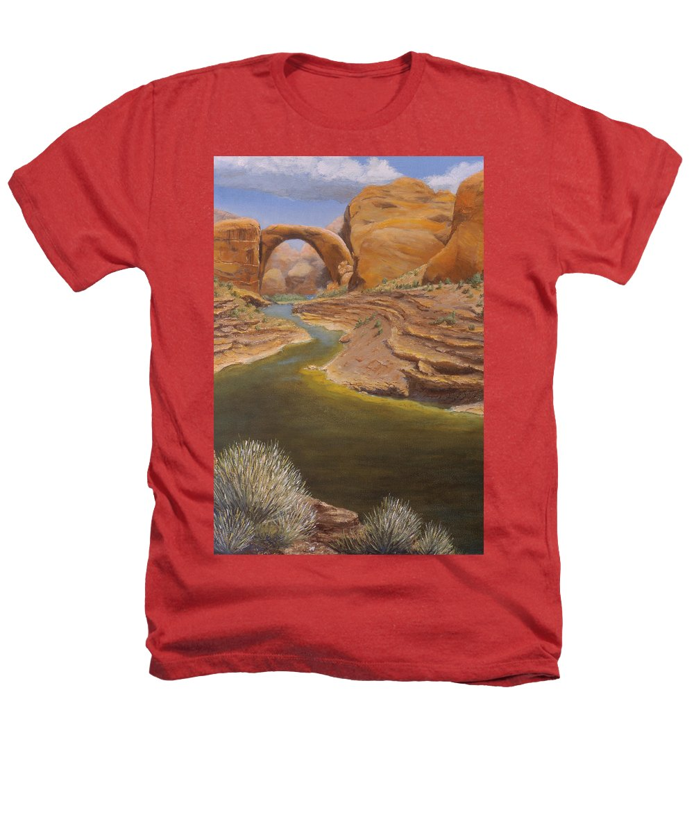 Rainbow Bridge Heathers T-Shirt featuring the painting Rainbow Bridge by Jerry McElroy