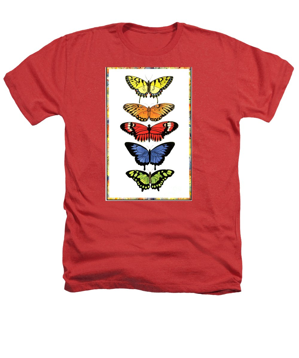 Butterflies Heathers T-Shirt featuring the painting Rainbow Butterflies by Lucy Arnold
