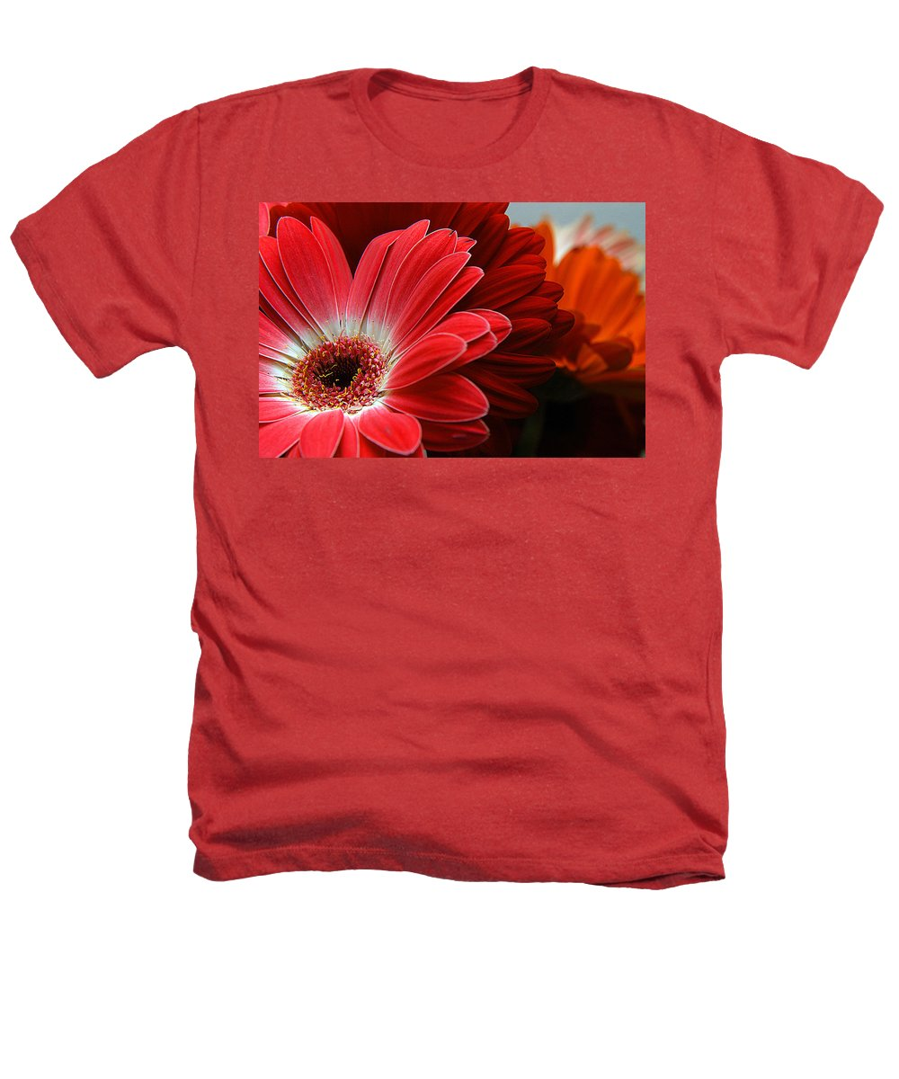 Clay Heathers T-Shirt featuring the photograph Red And Orange Florals by Clayton Bruster
